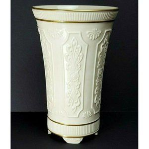 "Lenox 8 3/4"" Gold Trim Paneled Design Footed Cream"